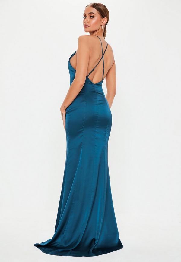 04b0a60c7cf7c4 teal satin round neck backless maxi dress