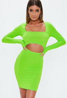 ... Neon Green Cut Out Ribbed Mini Dress b94d72e084