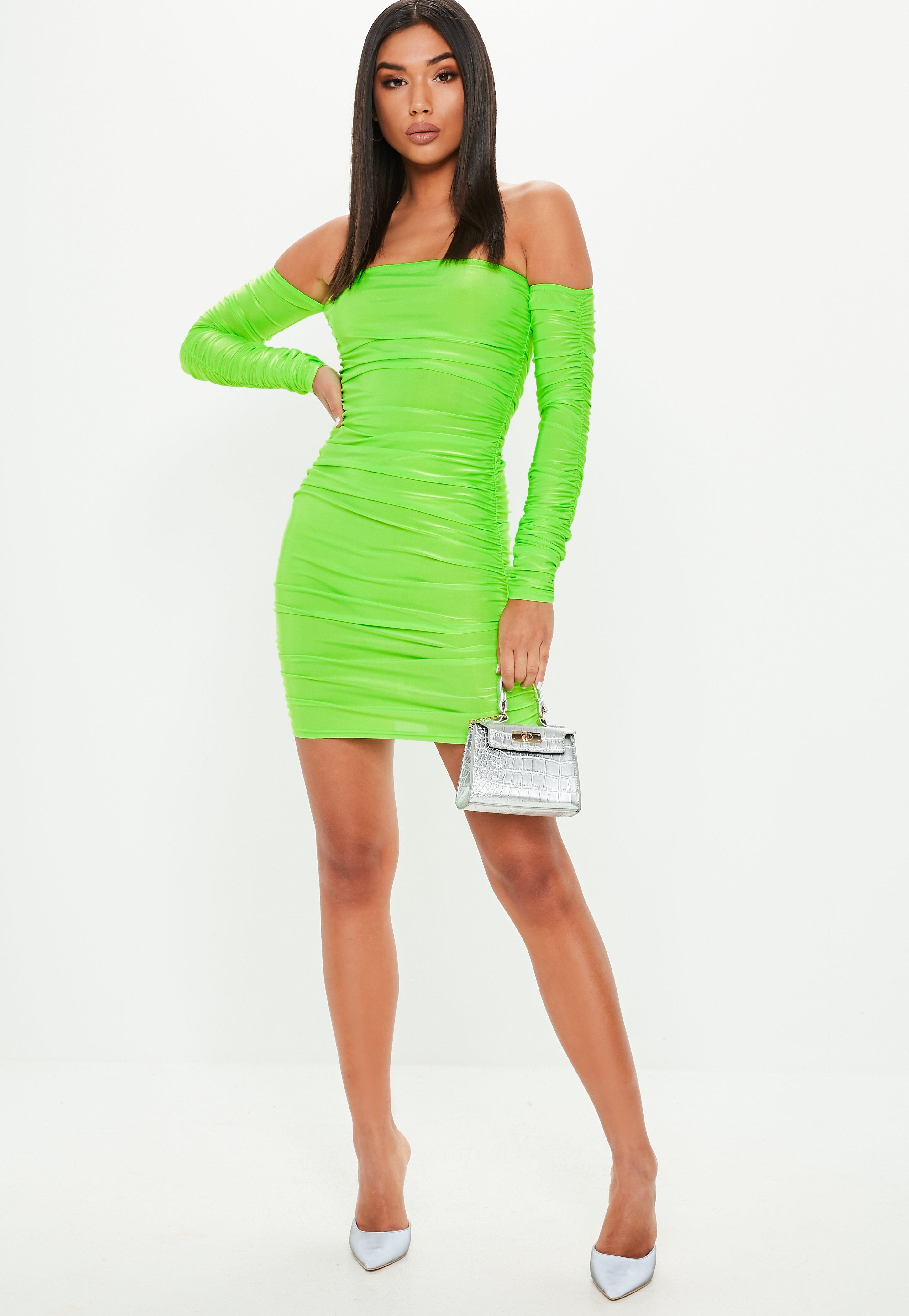 a514ce731e Neon Green Bardot Ruched Mini Dress
