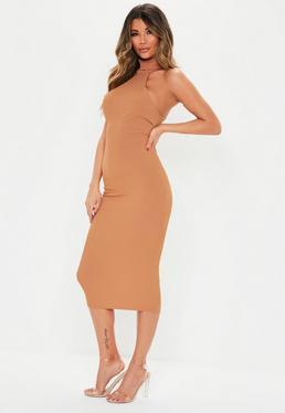 58e1e46eaf5d3 Black Pinstripe Sleeveless Midi Dress