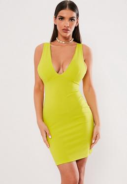 Lime Plunge Bust Cup Mini Dress 4fc52eaef5