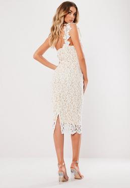 0366f81282 Vestido midi asimétrico de crochet en blanco