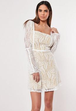 414c6adf156 Cream Lace Milkmaid Skater Dress