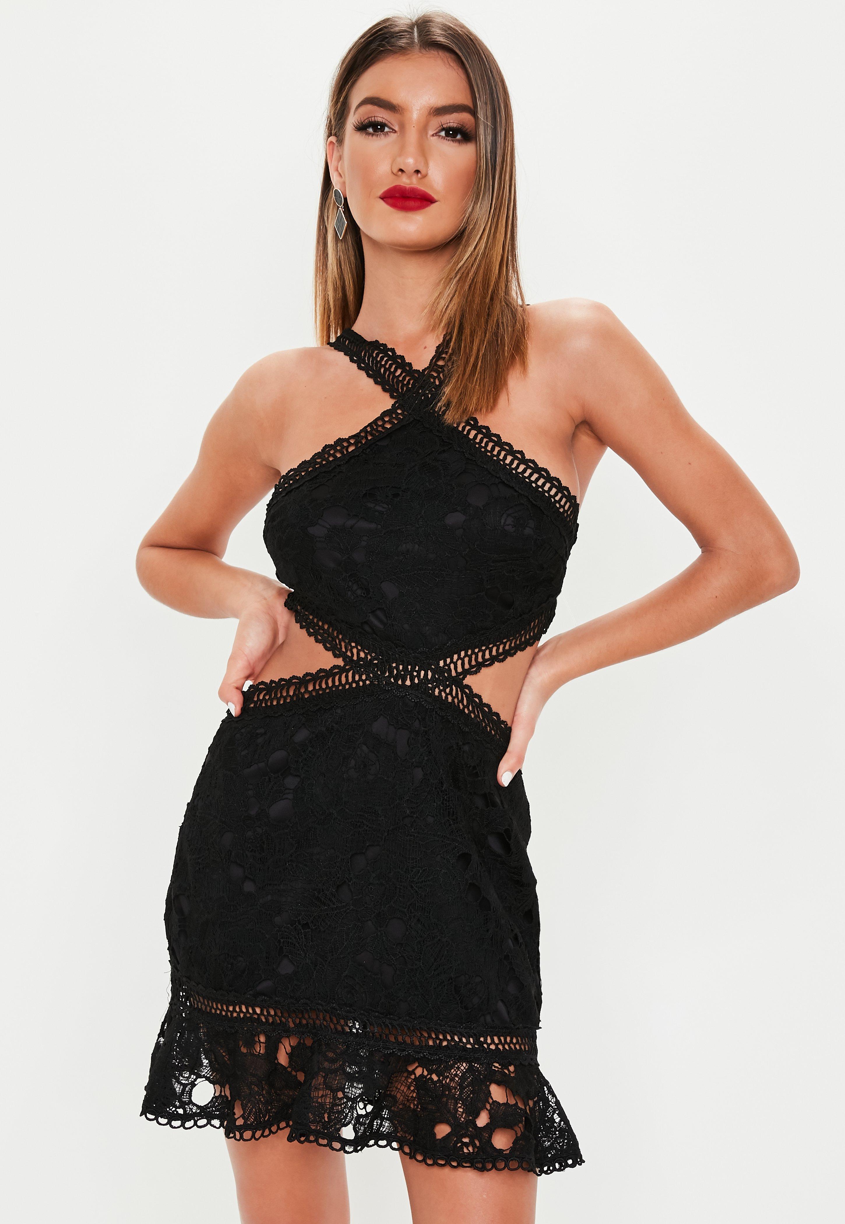 e3c225bf3af2 Black Cut Out Lace Trim Frill Hem Mini Dress | Missguided