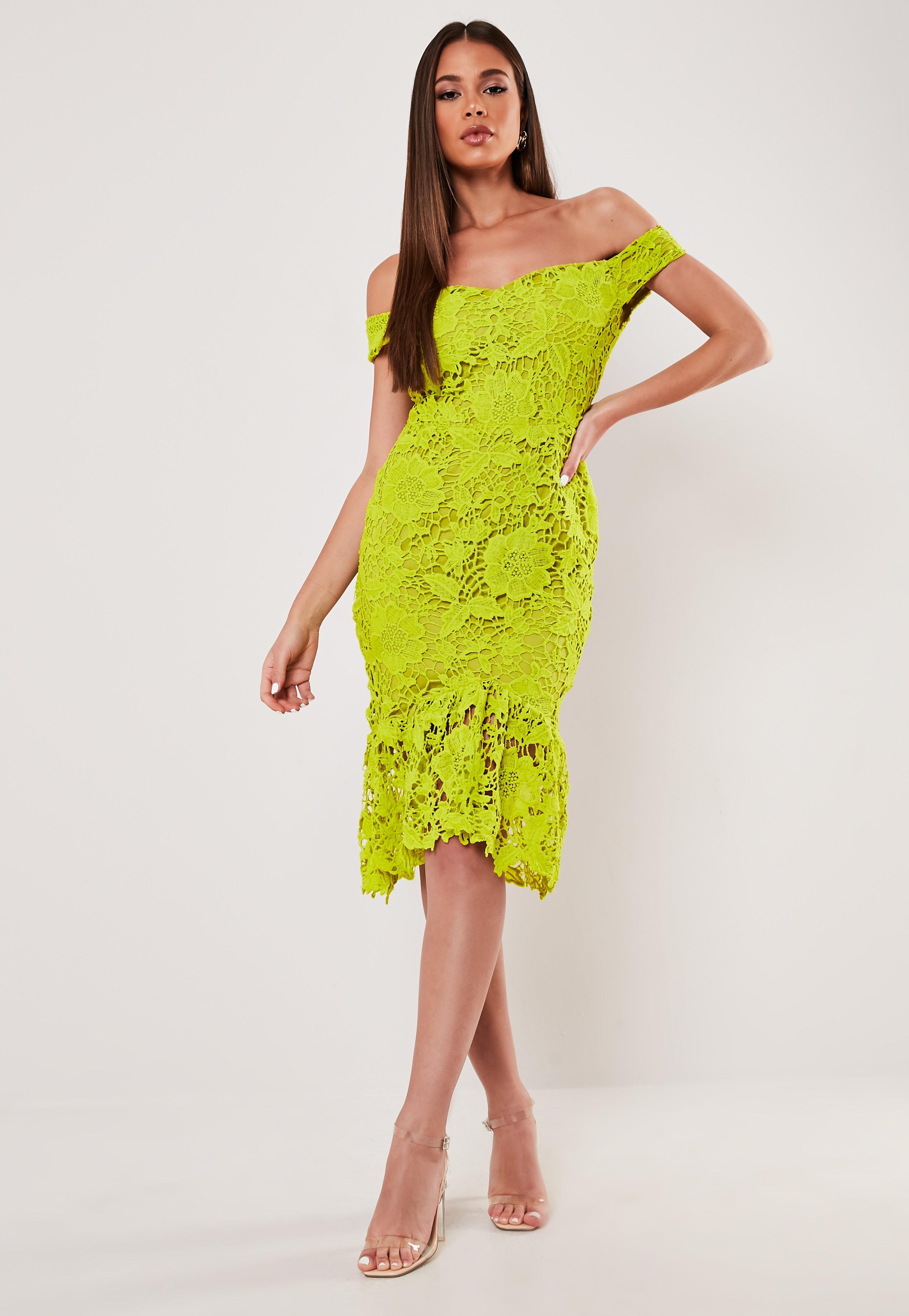 9095d8425c94 Lime Floral Lace Bardot Midi Dress   Missguided