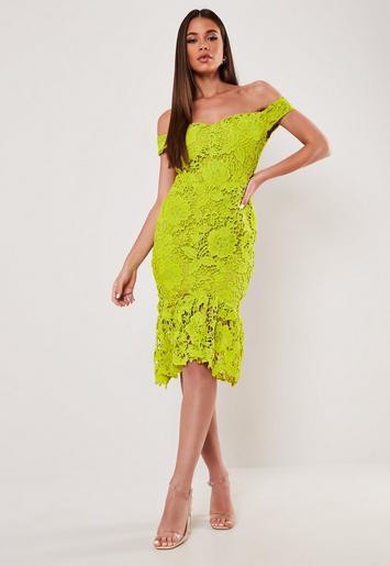 Lime Floral Lace Bardot Midi Dress Missguided