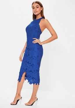 Cobalt Blue Lace Halterneck Midi Dress 9e64f2a77fdb