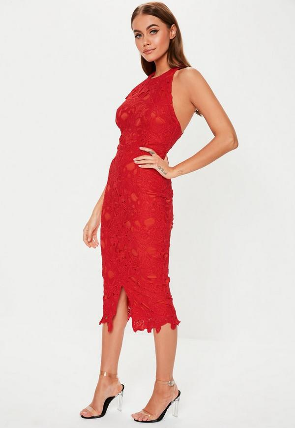 2d4a58ca90f0 Red Lace Halterneck Midi Dress