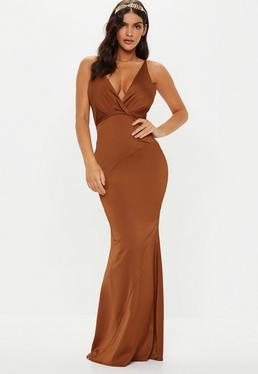 3c45335d4b09 Red Satin Round Neck Backless Maxi Dress · Bridesmaid Bronze Satin V Plunge Maxi  Dress