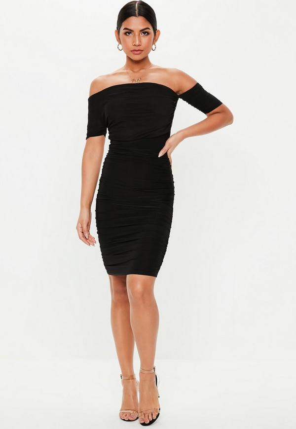 a5f515aa8086 Black Bardot Ruched Mini Dress