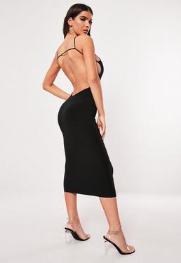 91156c3ad75f Black Slinky Strappy Low Back Bodycon Midi Dress