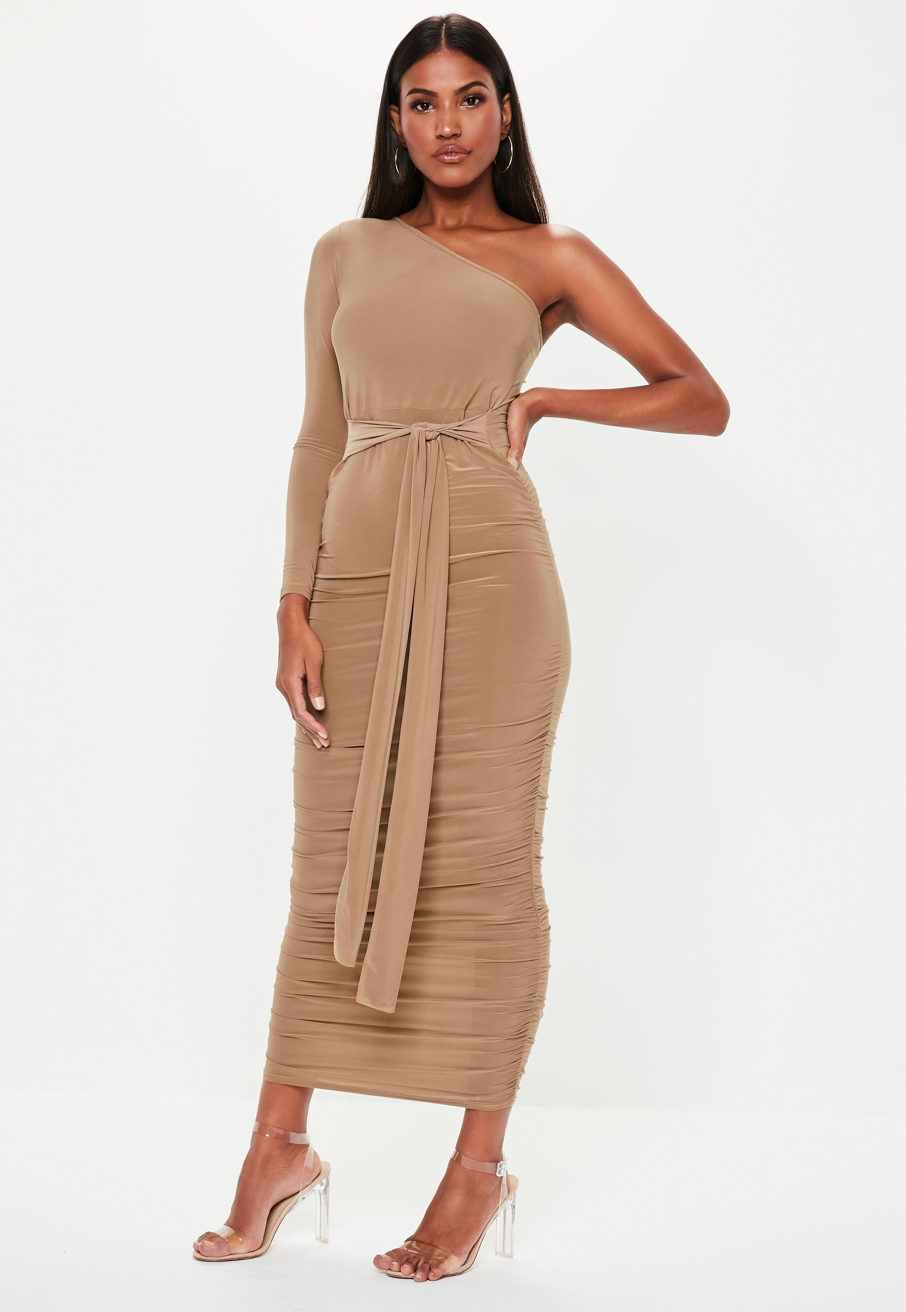 One Shoulder Tan Dress