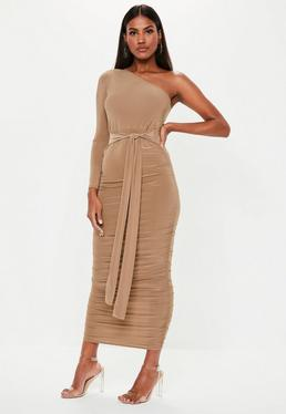 33d3ae3dd29e2 ... Camel One Shoulder Slinky Bodycon Ruched Midaxi Dress