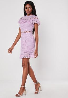 af6f741a58ff Purple Missguided Slogan Rib Bodycon Midi Dress · Lilac High Neck Frill  Lace Mini Dress