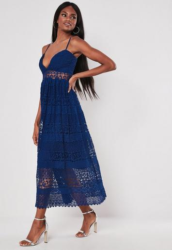 e625a38571cf Navy Strappy Lace Midi Dress | Missguided