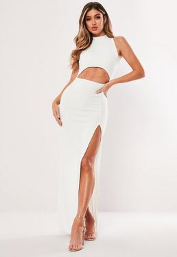 97265bdb37 White High Neck Cut Out Maxi Dress