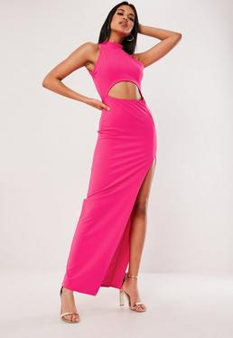 74e22df49b Hot Pink High Neck Cut Out Maxi Dress