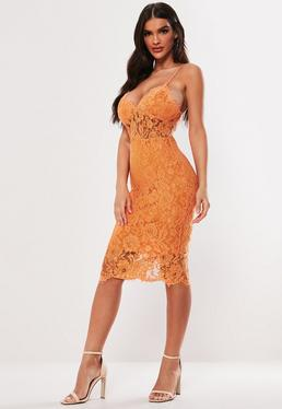 ce8a592c28 Orange Strappy Lace Bodycon Midi Dress