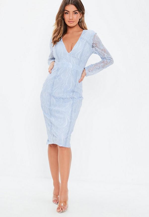 Secret rose blue midi dress long sleeve haven new zealand
