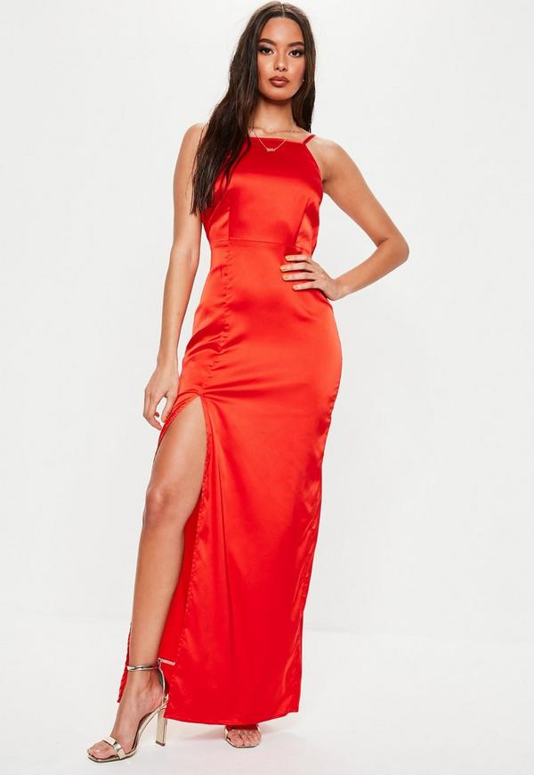 8f509694f0 Red Satin Square Neck Maxi Dress