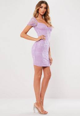 ee0ca4d0789 Lilac Lace Cup Puff Sleeve Mini Dress