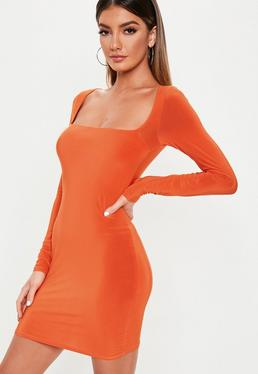e3268e5233f9 Orange Slinky Wide Neck Bodycon Mini Dress
