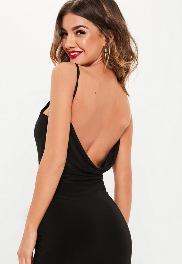 de29c885d6e9 Black Slinky Double Layer Cowl Back Midi Dress