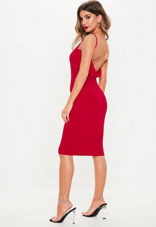 812aa25a89 Red Slinky Double Layer Cowl Back Midi Dress
