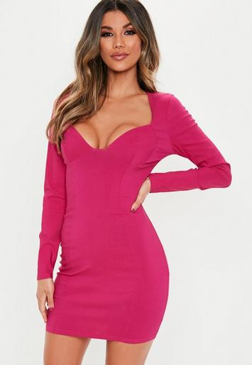 Hot Pink Bust Cup Long Sleeve Mini Dress Missguided