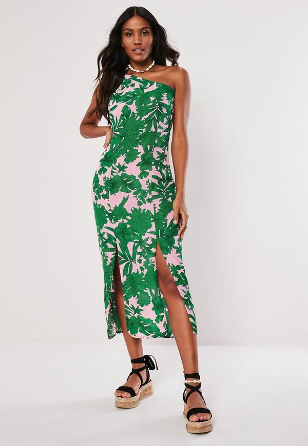 Pink Tropical Print One Shoulder Maxi Dress by Missguided