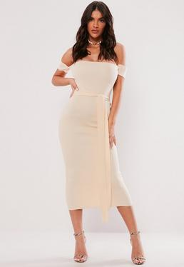 1bd227ce2f7c Grey Ribbed Long Sleeve Bardot Bodycon Midi Dress  Cream Ribbed Bardot Tie  Maxi Dress
