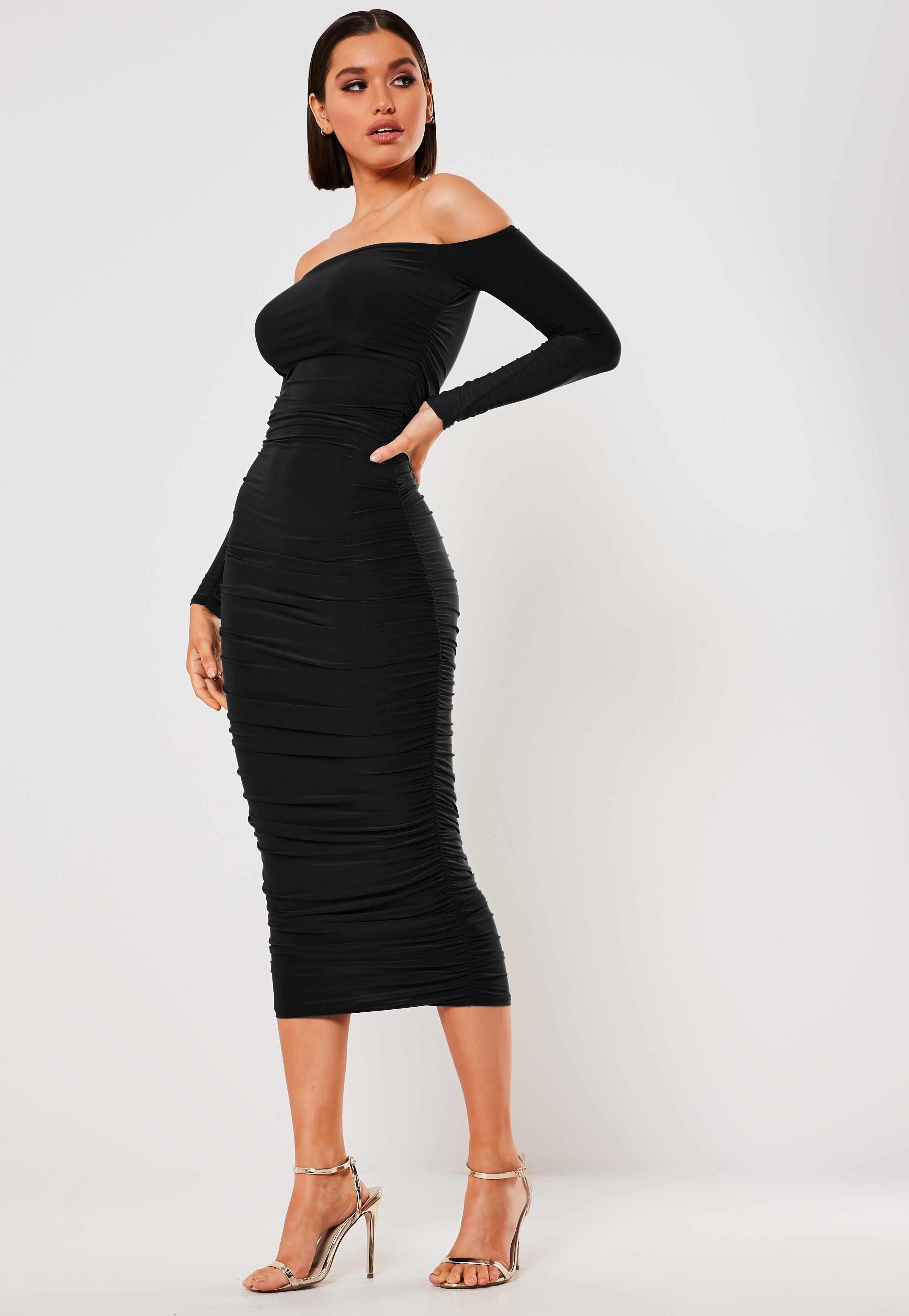 7eab79d9afd4 Black Bardot Slinky Ruched Bodycon Midaxi Dress | Missguided