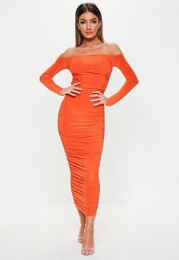 777e1177860961 ... Orange Bardot Slinky Ruched Bodycon Midaxi Dress