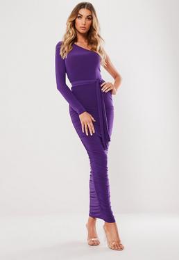 Purple One Shoulder Slinky Midaxi Dress Purple One Shoulder Slinky Midaxi  Dress b281779ea
