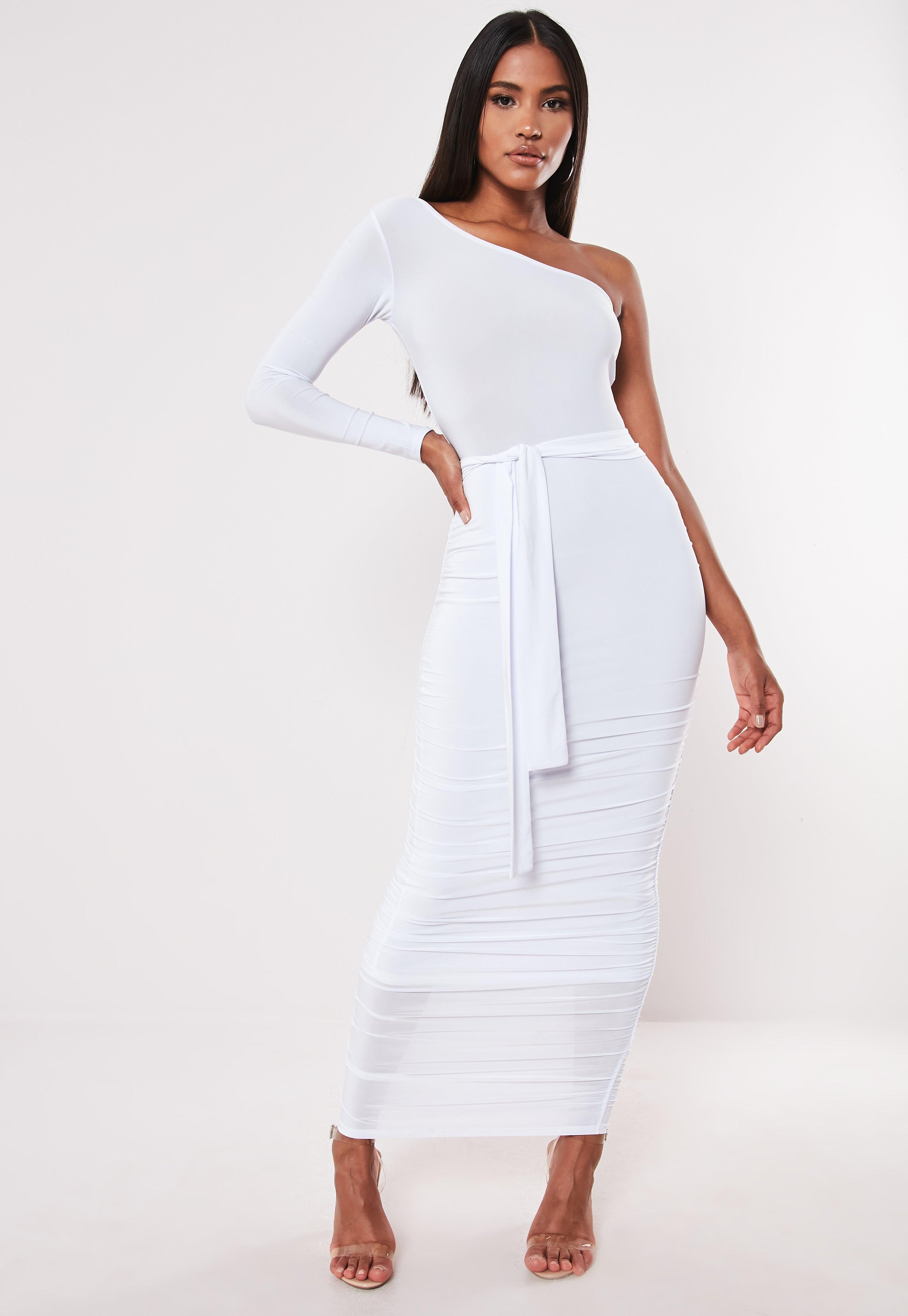 f9a15a0ee0e ONE SHOULDER SLINKY RUCHED MIDAXI DRESS | Missguided