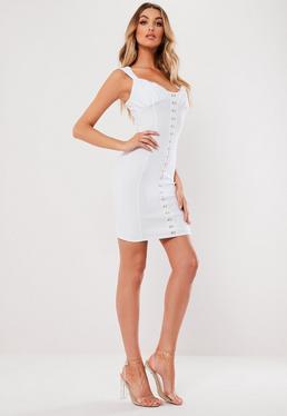 White Strappy Milkmaid Hook and Eye Mini Dress 619fe38f1dee