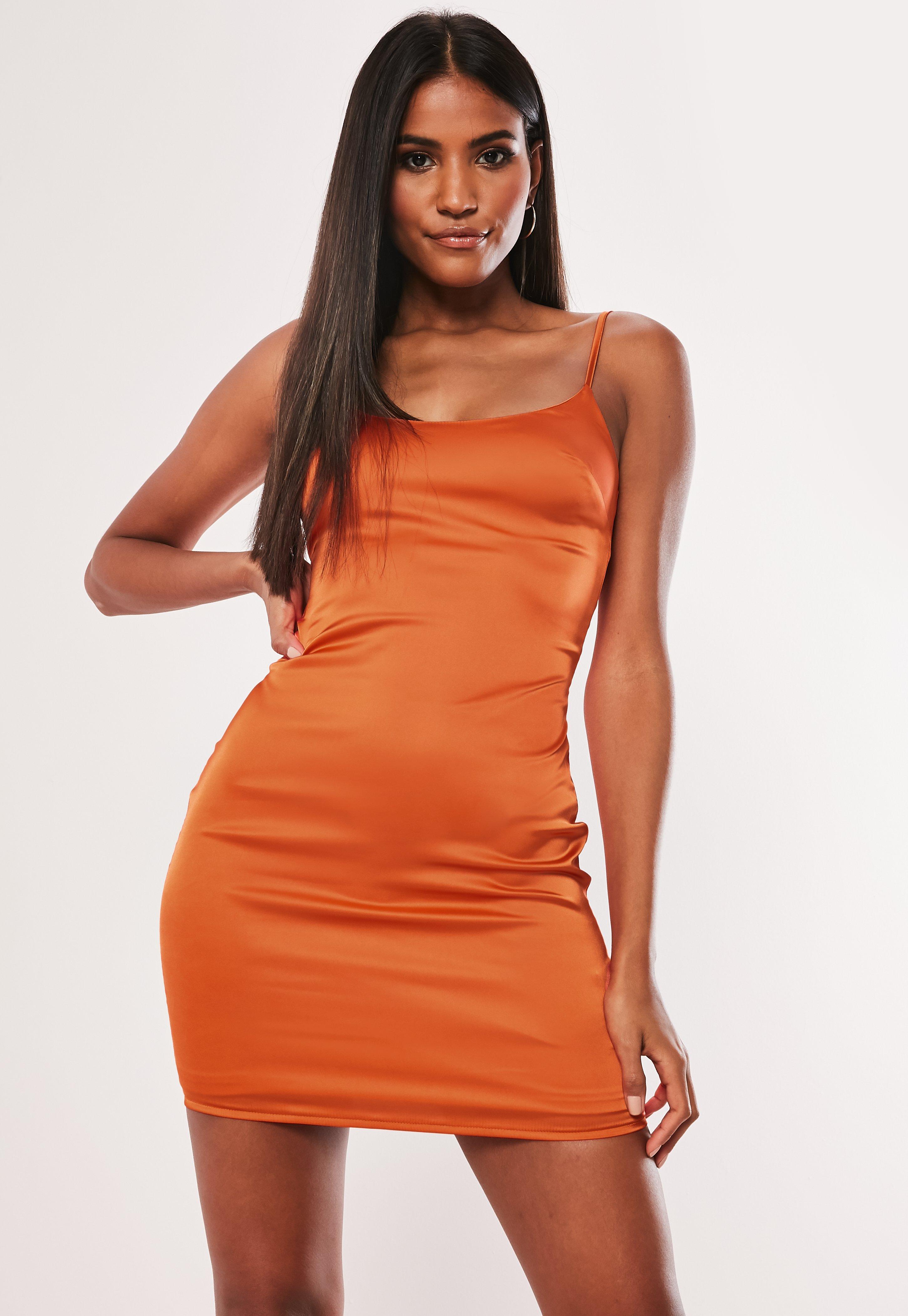 Orange Dress Satin