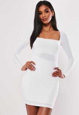 0da66fea41 White Long Sleeve Monochrome Dress  White Double Layer Slinky Mini Dress