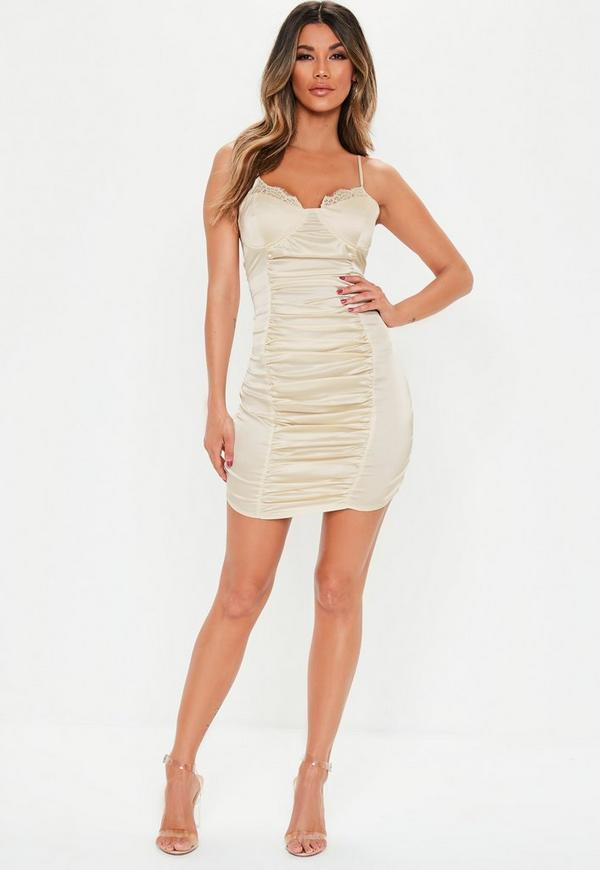 Champagne Stretch Satin Mini Dress Missguided