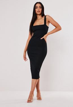 0de1e0bb5dc Black Square Neck Raw Edge Ribbed Midaxi Dress