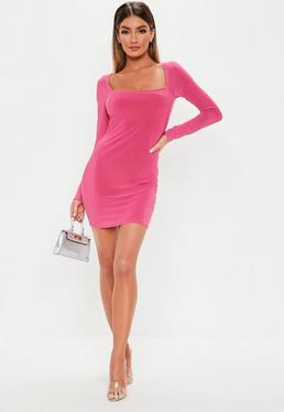 1a78c3ecfd5ff ... Pink Slinky Wide Neck Mini Dress