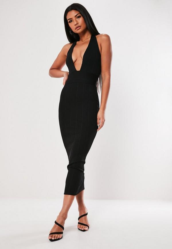 Black Bandage Halter Midi Dress by Missguided