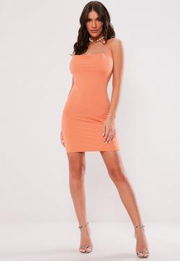 eb93690d84d6 Orange Slinky Cowl Neck Mini Dress