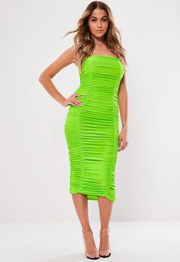 White Long Sleeve Monochrome Dress  Neon Green Ruched Cami Midaxi Dress e9ad7ff56485