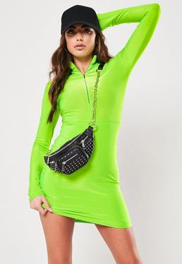 Green High Neck Slinky Mini Dress 172fcc5d2852