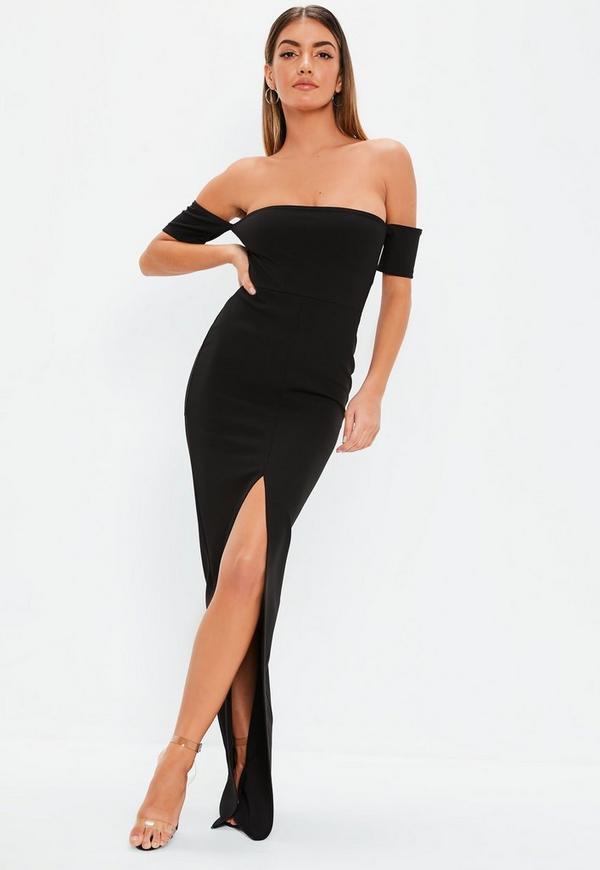 Black Bardot Split Front Maxi Dress  cd7306fb7