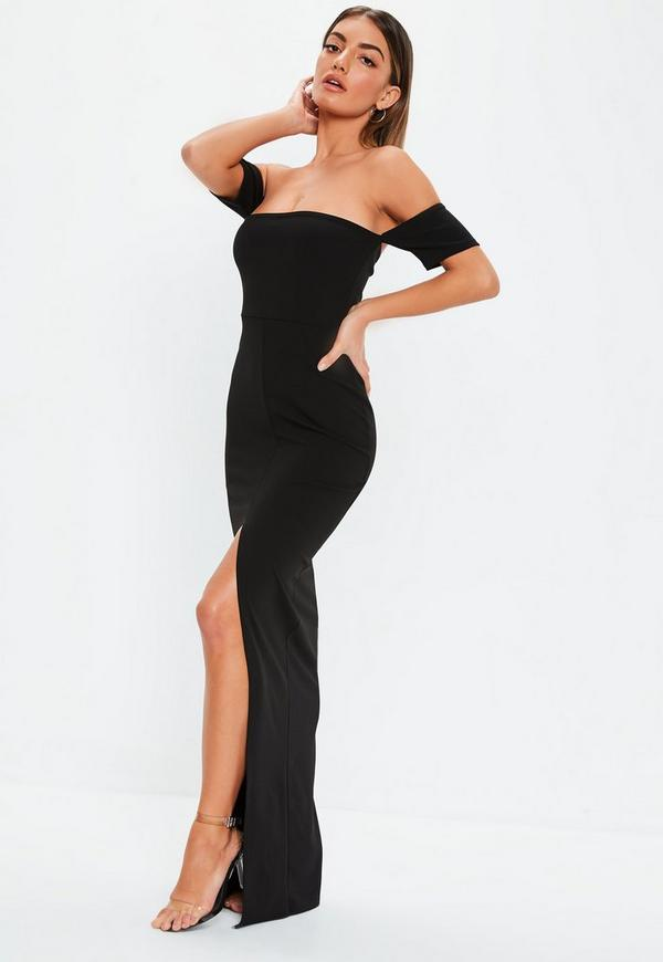 Black Bardot Split Front Maxi Dress. Previous Next d2c465437