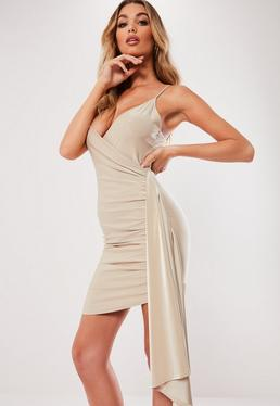 Champagne Slinky Wrap Drape Bodycon Mini Dress 645bb5472