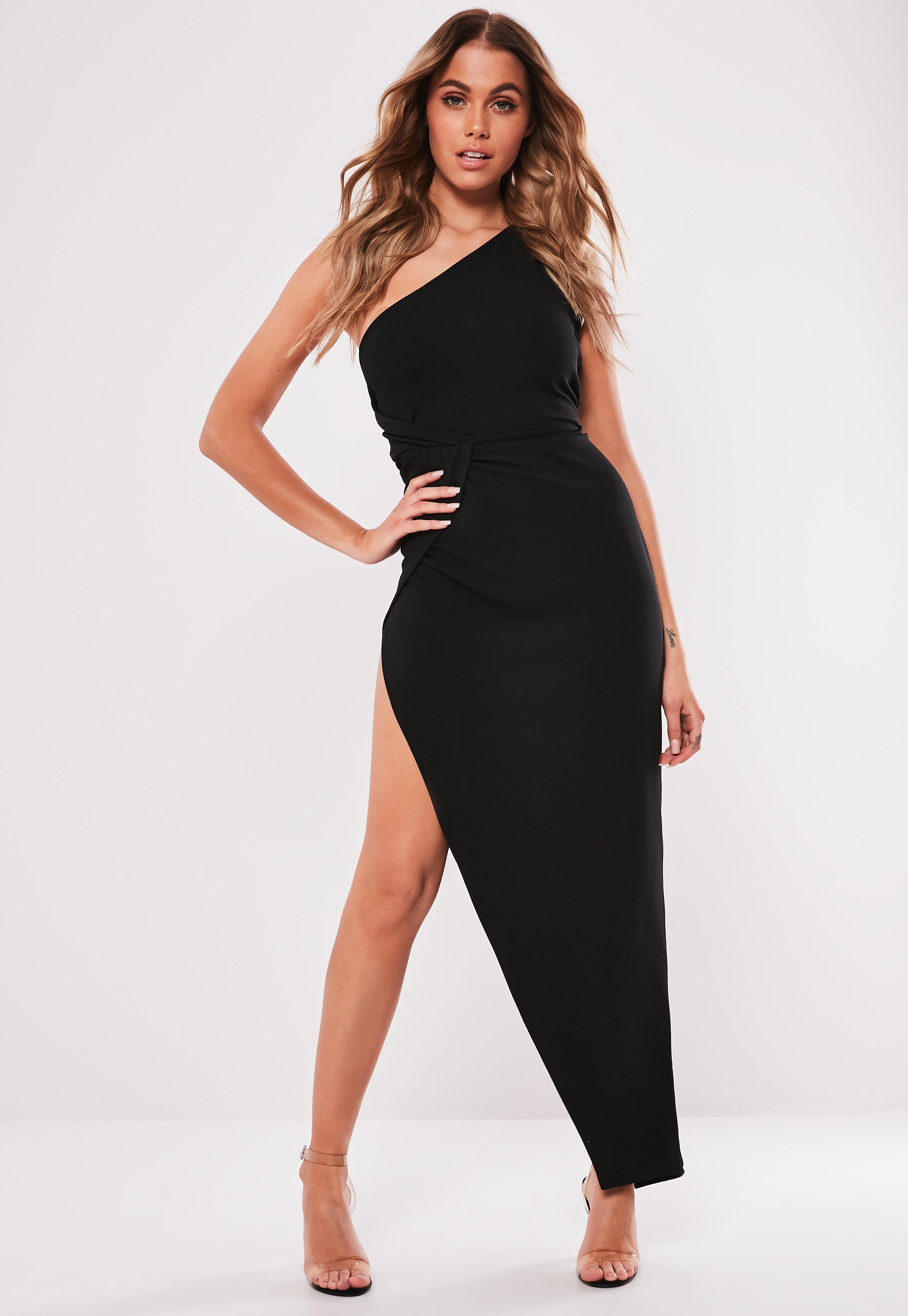 b85ef127efee Black One Shoulder Wrap Bodycon Midi Dress