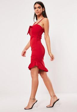 395c18d44b Red Tie Front Ruched Bodycon Mini Dress